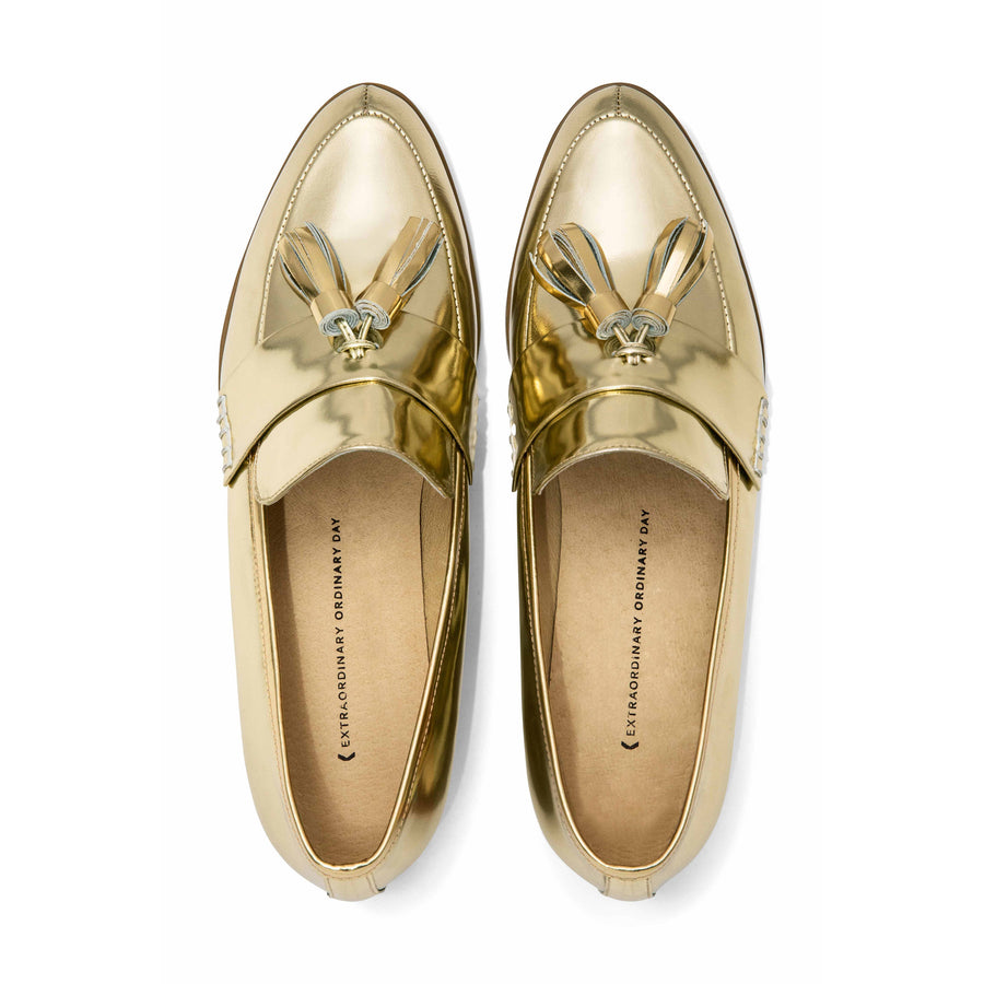 ECSTASY Tassel Leather Loafers - Metallic Gold - Extraordinary Ordinary Day