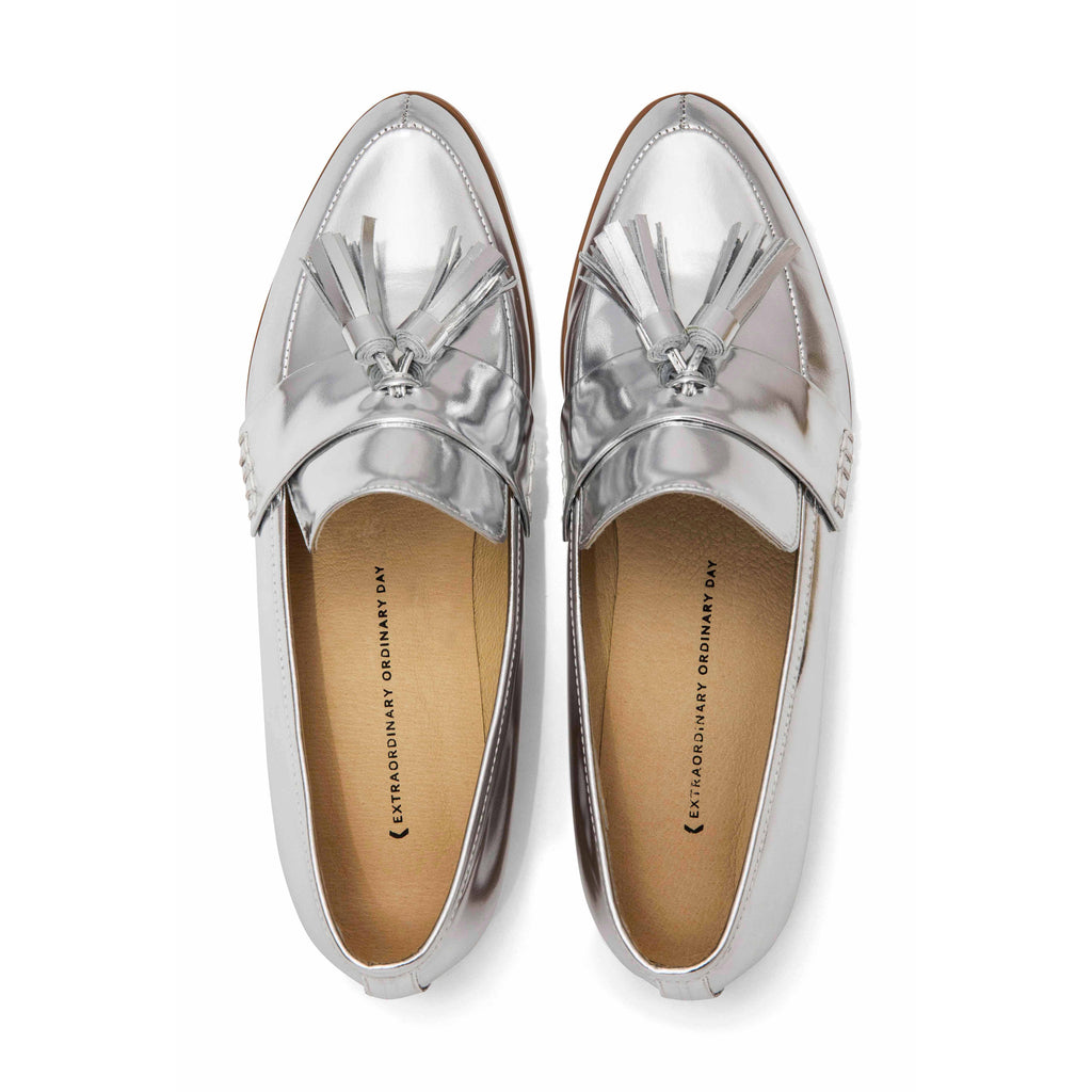 Women's Designer Shoes - Ecstasy Tassel Loafers Metallic Silver - Flatlay