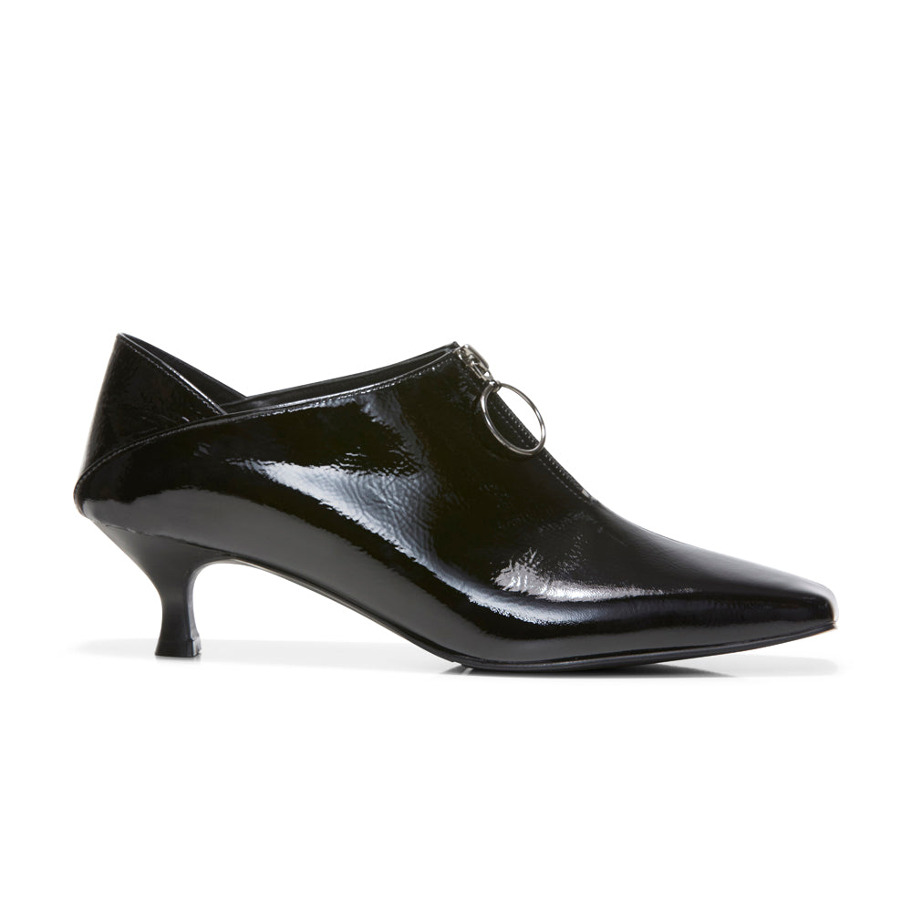 EOD's New Arrival Elle Kitten Heel Pump in Black Patent Leather with Ring Zip side view - Women's Designer Shoes