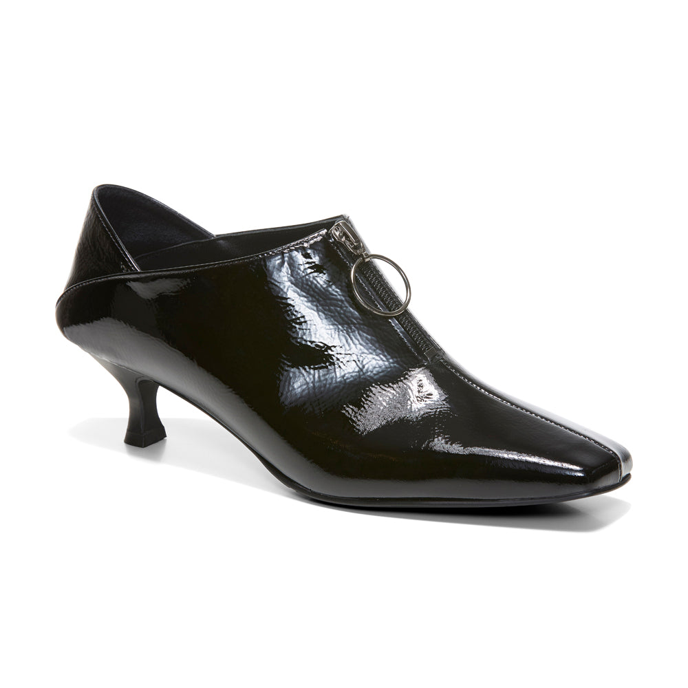 EOD's New Arrival Elle Kitten Heel Pump in Black Patent Leather with Ring Zip perspective - Women's Designer Shoes