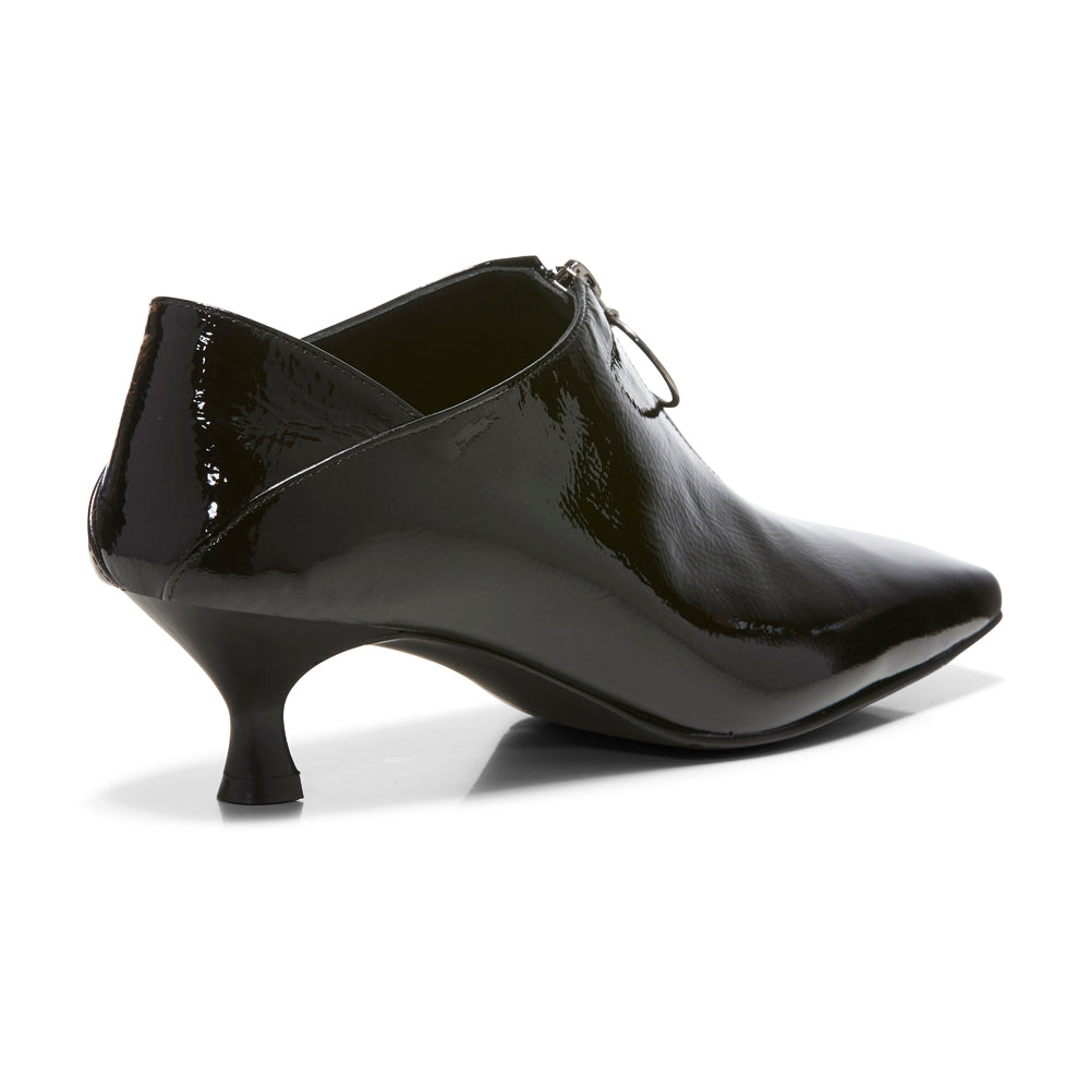 EOD's New Arrival Elle Kitten Heel Pump in Black Patent Leather with Ring Zip back view - Women's Designer Shoes