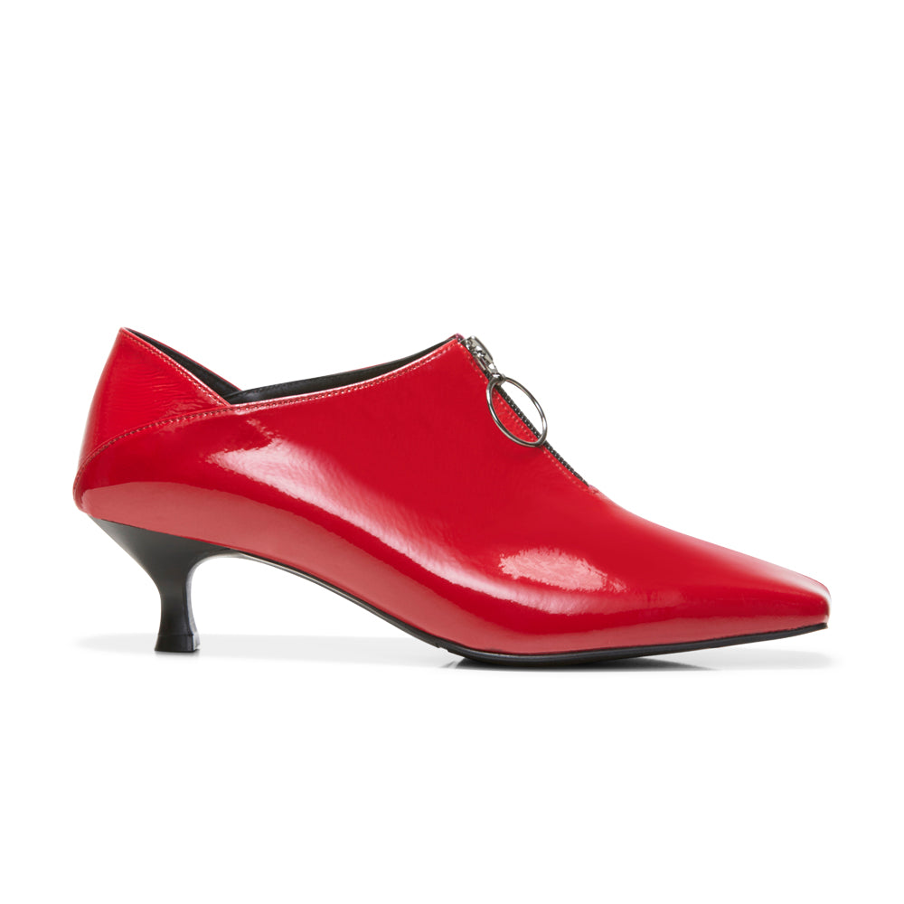 EOD's New Arrival Elle Kitten Heel Pump in Red Patent Leather with Ring Zip side view - Women's Designer Shoes
