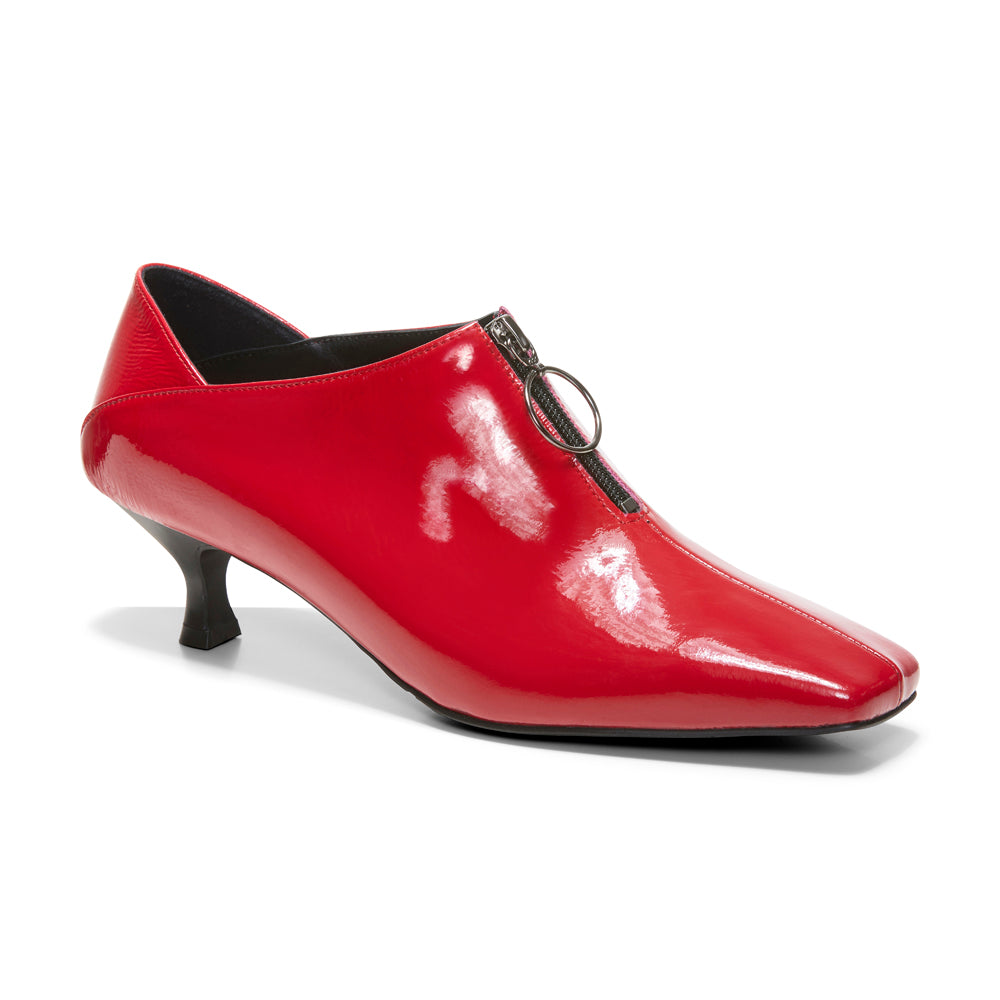 EOD's New Arrival Elle Kitten Heel Pump in Red Patent Leather with Ring Zip perspective - Women's Designer Shoes