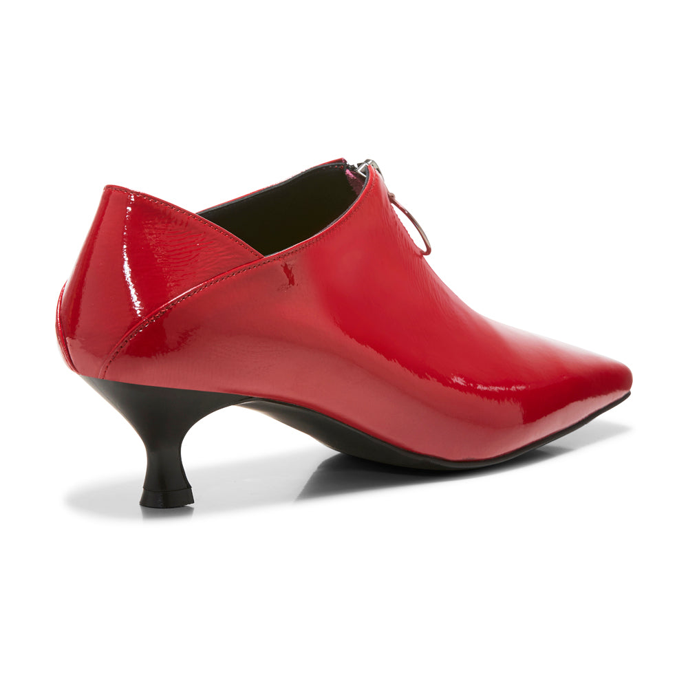EOD's New Arrival Elle Kitten Heel Pump in Red Patent Leather with Ring Zip back view - Women's Designer Shoes