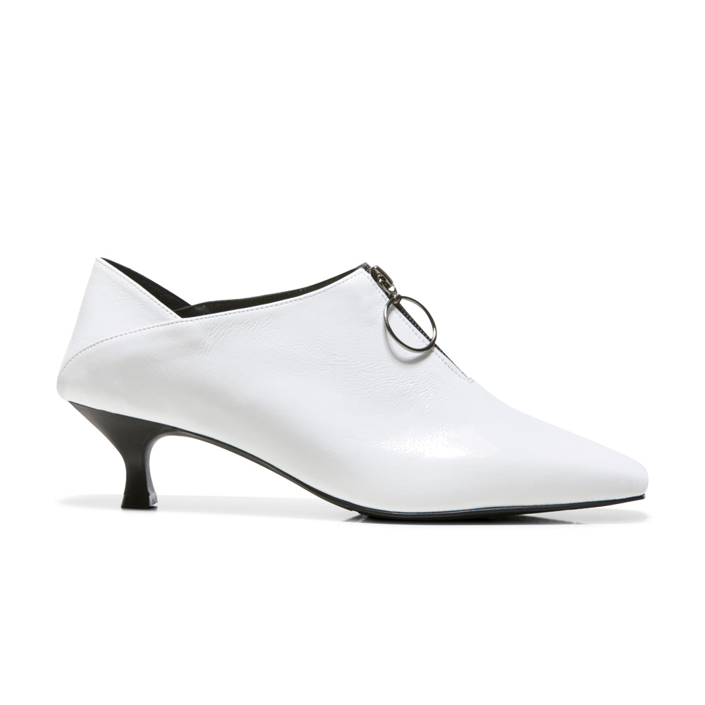 EOD's New Arrival Elle Kitten Heel Pump in White Patent Leather with Ring Zip side view - Women's Designer Shoes