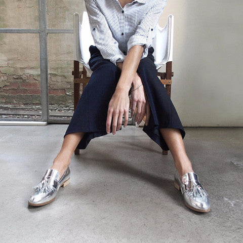 Women's Designer Shoes - Ecstasy Tassel Loafers Metallic Silver - Campaign