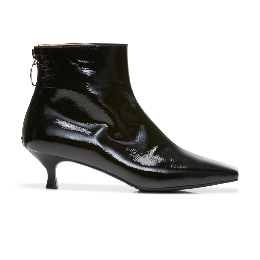 EOD's New Arrival Femme Black Kitten Heel Ankle Boots with Ring Zip Side - Women's Designer Shoes