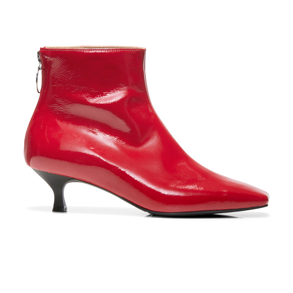 EOD's New Arrival Femme Red Kitten Heel Ankle Boots with Ring Zip Side - Women's Designer Shoes