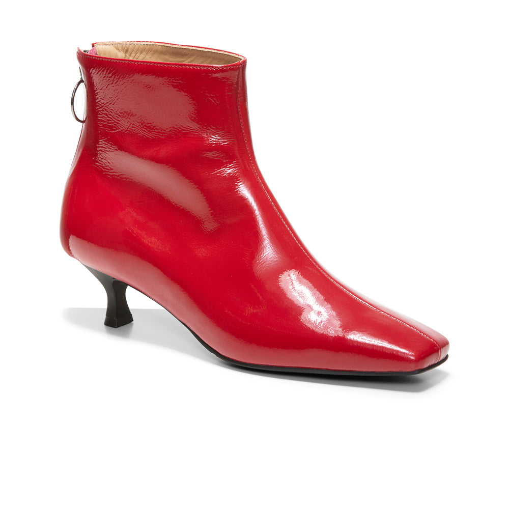 EOD's New Arrival Femme Red Kitten Heel Ankle Boots with Ring Zip Perspective - Women's Designer Shoes