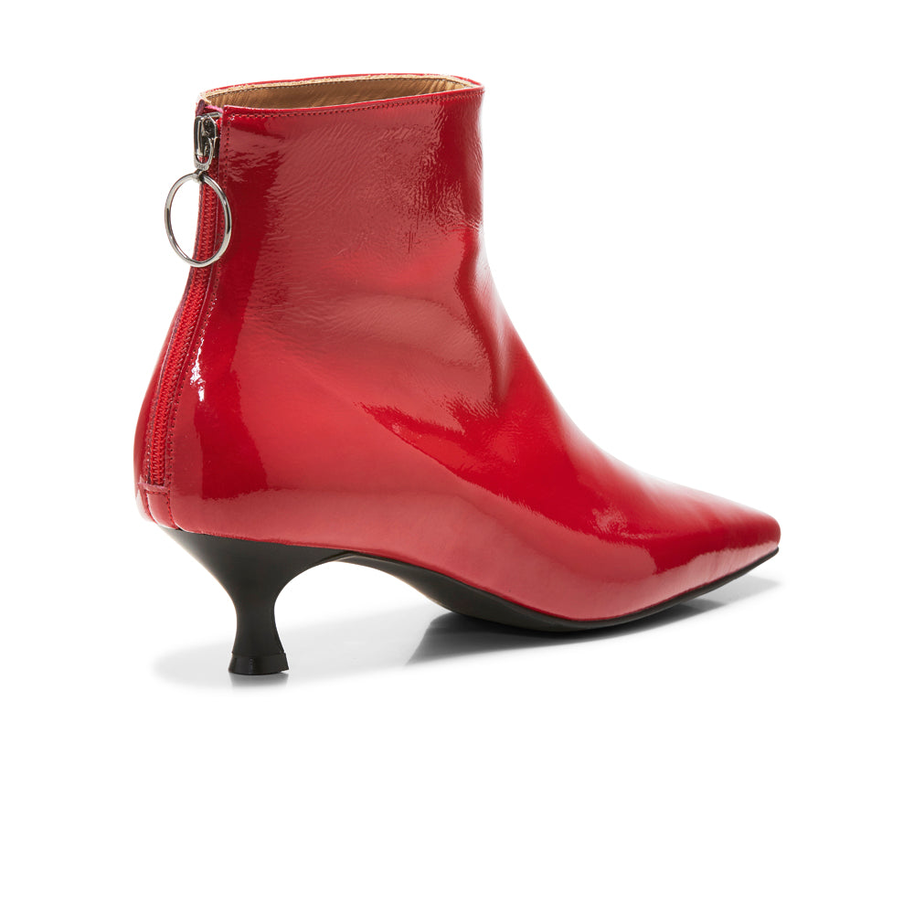 EOD's New Arrival Femme Red Kitten Heel Ankle Boots with Ring Zip Back - Women's Designer Shoes