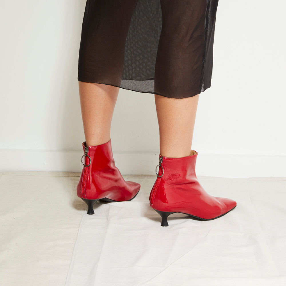 EOD's New Arrival Femme Red Kitten Heel Ankle Boots with Ring Zip worn by Model - Women's Designer Shoes