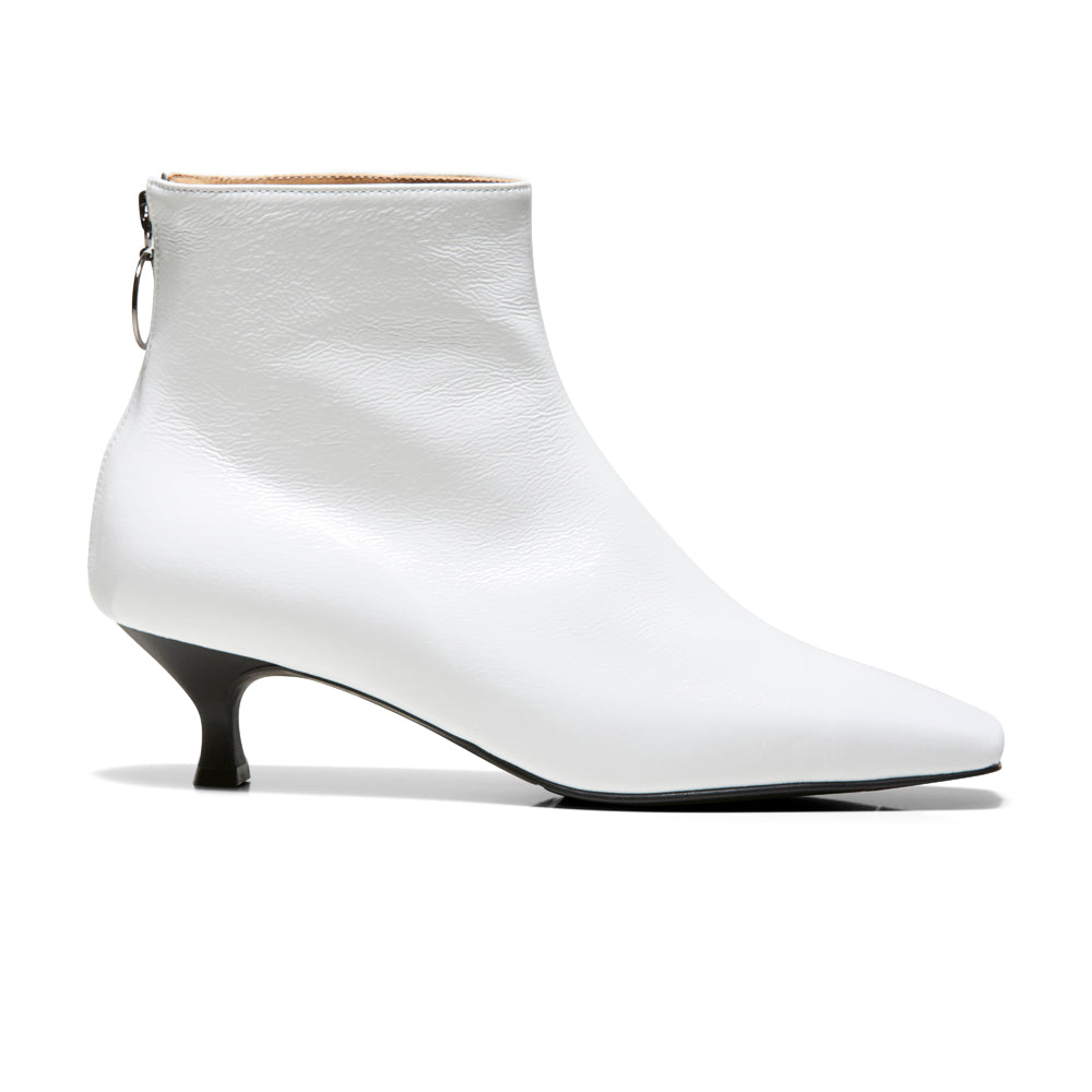EOD's New Arrival Femme White Kitten Heel Ankle Boots with Ring Zip Side - Women's Designer Shoes