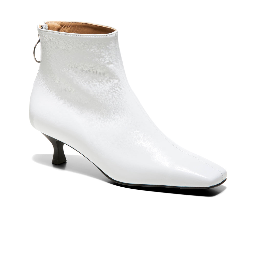 EOD's New Arrival Femme White Kitten Heel Ankle Boots with Ring Zip Perspective - Women's Designer Shoes