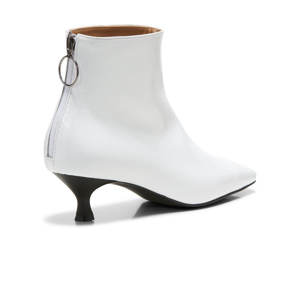 EOD's New Arrival Femme White Kitten Heel Ankle Boots with Ring Zip Back - Women's Designer Shoes