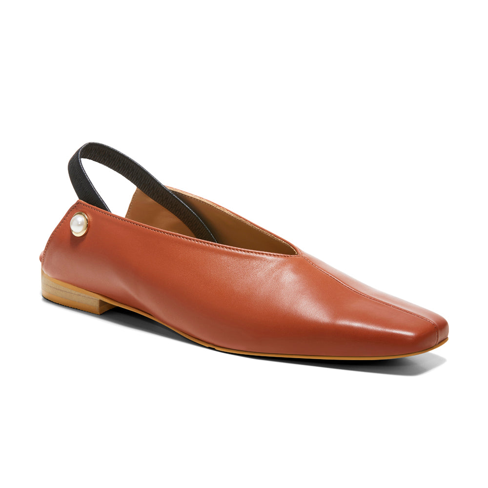 EOD's New Arrival Tan Brown Iris Slingback Flat with Pearls Perspective View - Women's Designer Shoes
