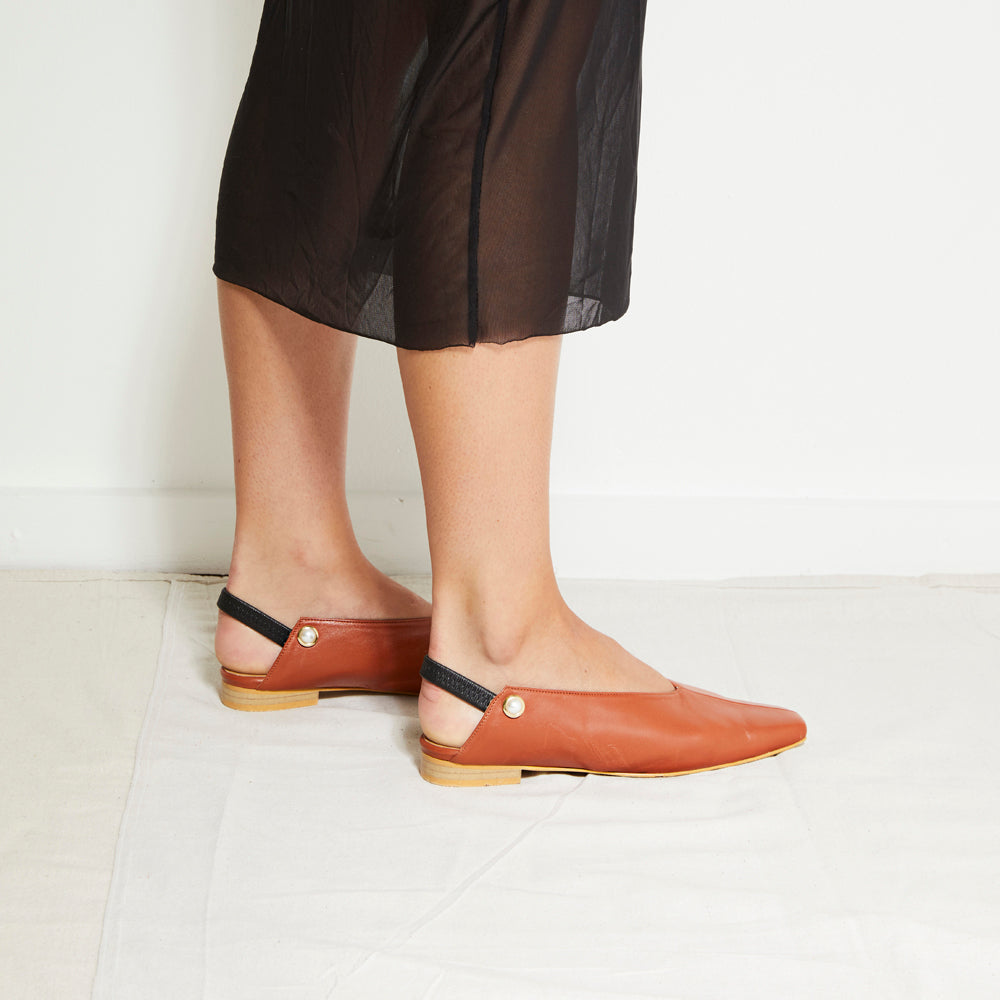 EOD's New Arrival Tan Brown Iris Slingback Flat with Pearls Worn by Model - Women's Designer Shoes