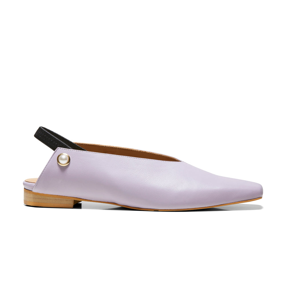 EOD's New Arrival Lavender Iris Slingback Flat with Pearls side view - Women's Designer Shoes