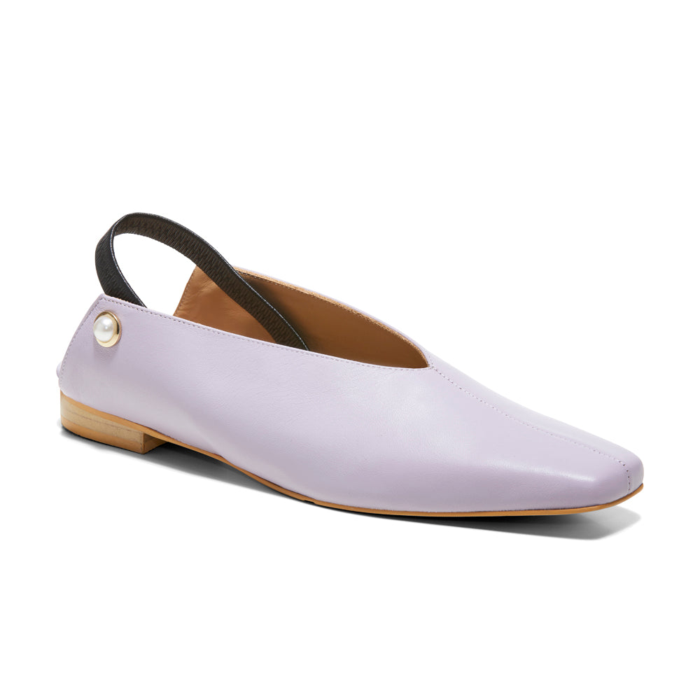 EOD's New Arrival Lavender Purple Iris Slingback Flat with Pearls perspective view - Women's Designer Shoes