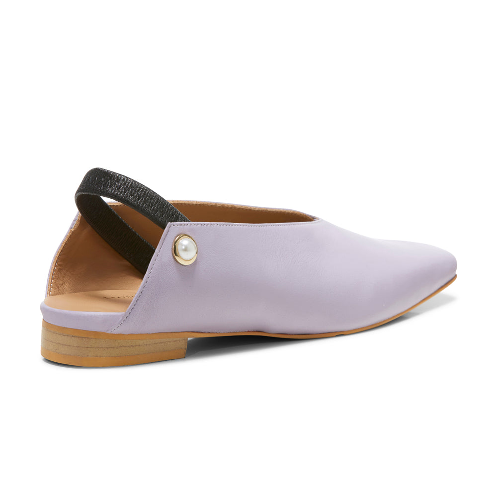 EOD's New Arrival Lavender Purple Iris Slingback Flat with Pearls back view - Women's Designer Shoes