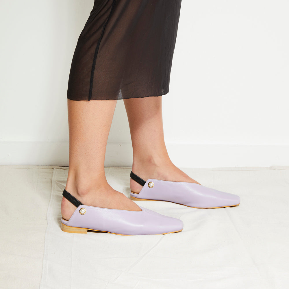 EOD's New Arrival Lavender Purple Iris Slingback Flat with Pearls worn by model - Women's Designer Shoes