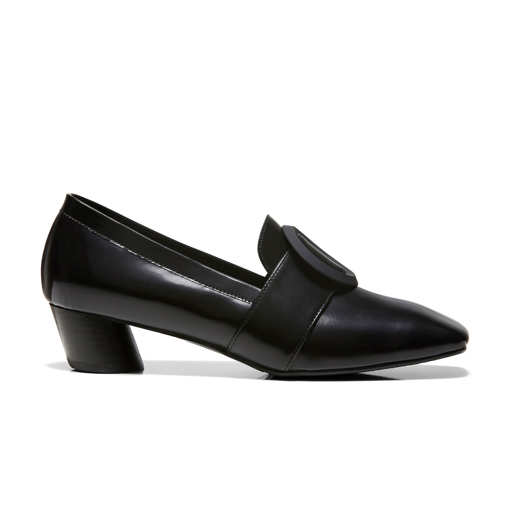 EOD's New Arrival Josephine round buckle black loafers on slant block heels - Women's Designer Shoes