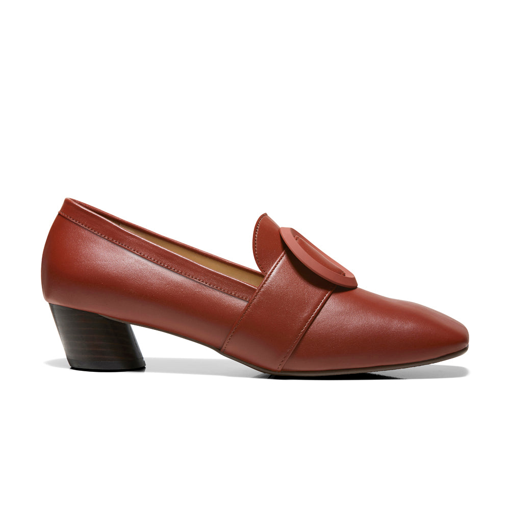 EOD's New Arrival Josephine round buckle brown brick loafers on slant block heels - Women's Designer Shoes
