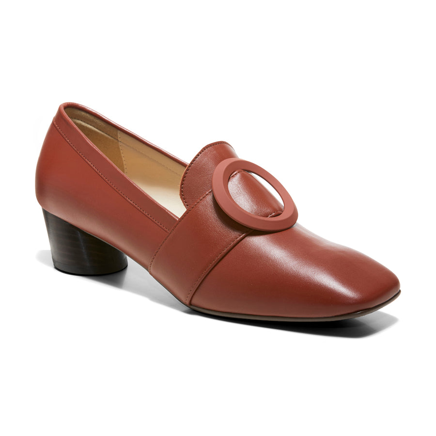 JOSEPHINE Buckle Loafers - Rust Brown Leather - Extraordinary Ordinary Day