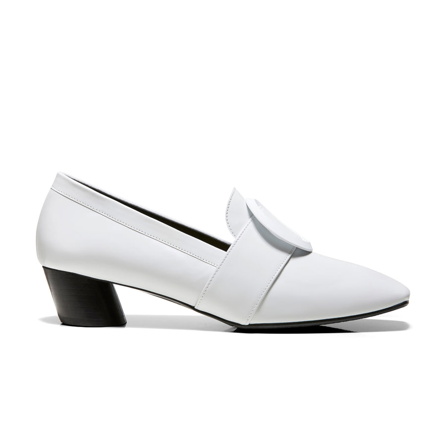 EOD's New Arrival Josephine round buckle white loafers on slant block heels - Women's Designer Shoes