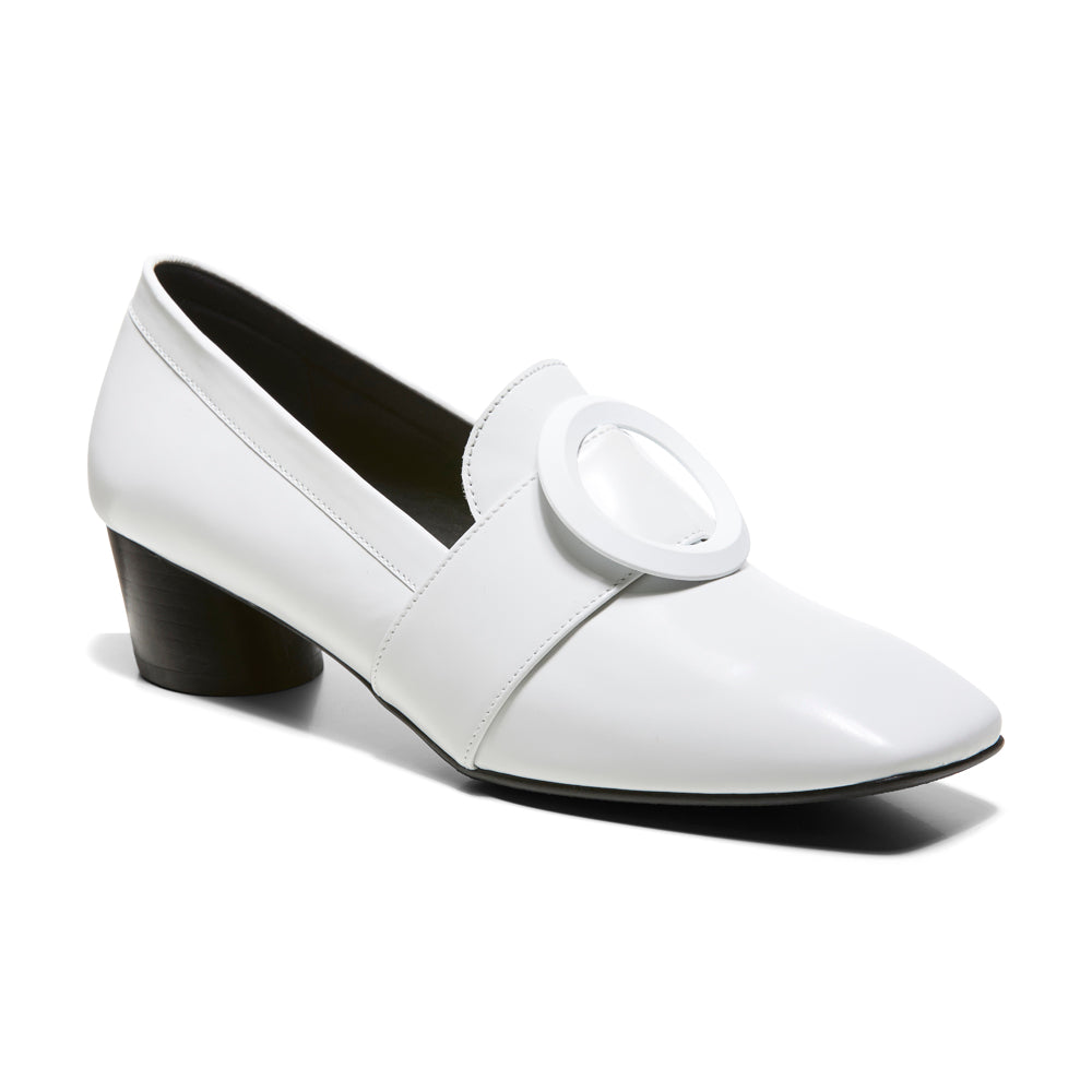EOD's New Arrival Josephine round buckle white loafers on slant block heels perspective - Women's Designer Shoes