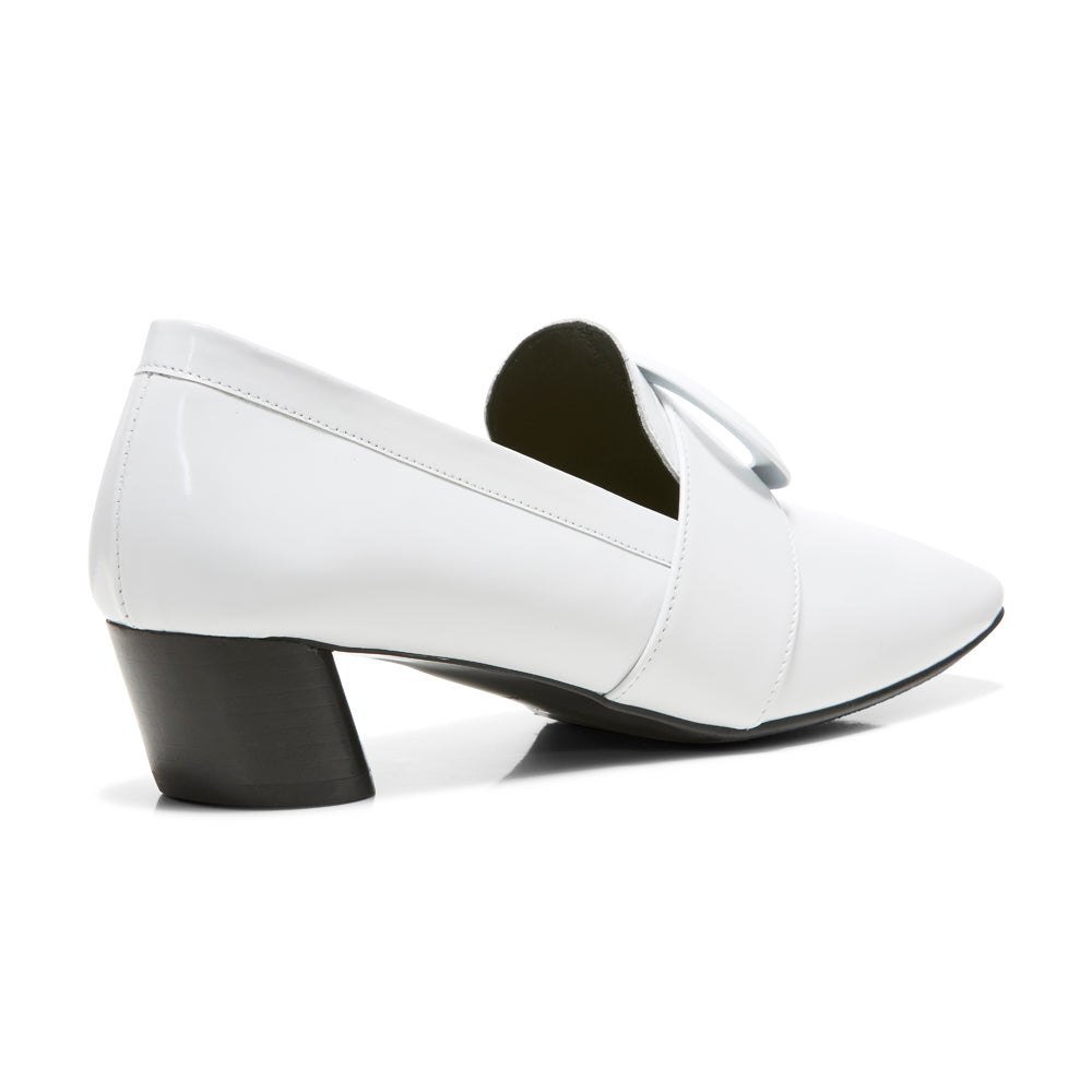 EOD's New Arrival Josephine round buckle white loafers on slant block heels back view - Women's Designer Shoes