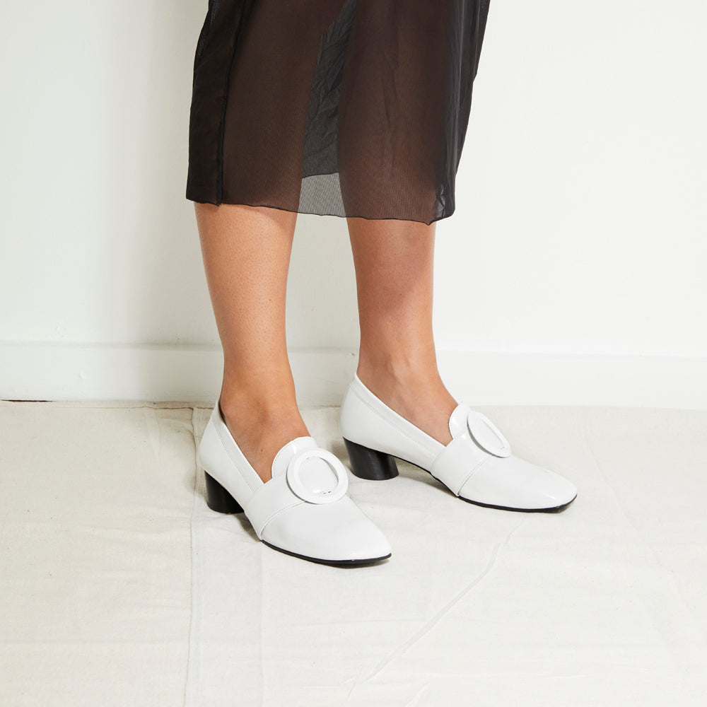 EOD's New Arrival Josephine round buckle white loafers worn by Model - Women's Designer Shoes