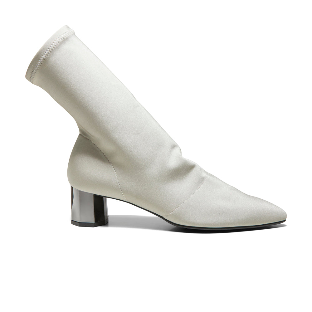 EOD's New Arrival Nikita Beige Sock Boots on Chrome Block Heels Side - Women's Designer Shoes