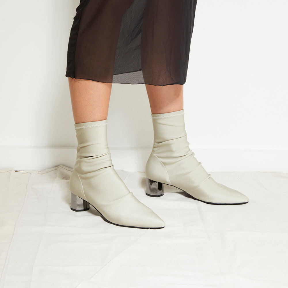 EOD's New Arrival Nikita Beige Sock Boots on Chrome Block Heels worn by Model - Women's Designer Shoes