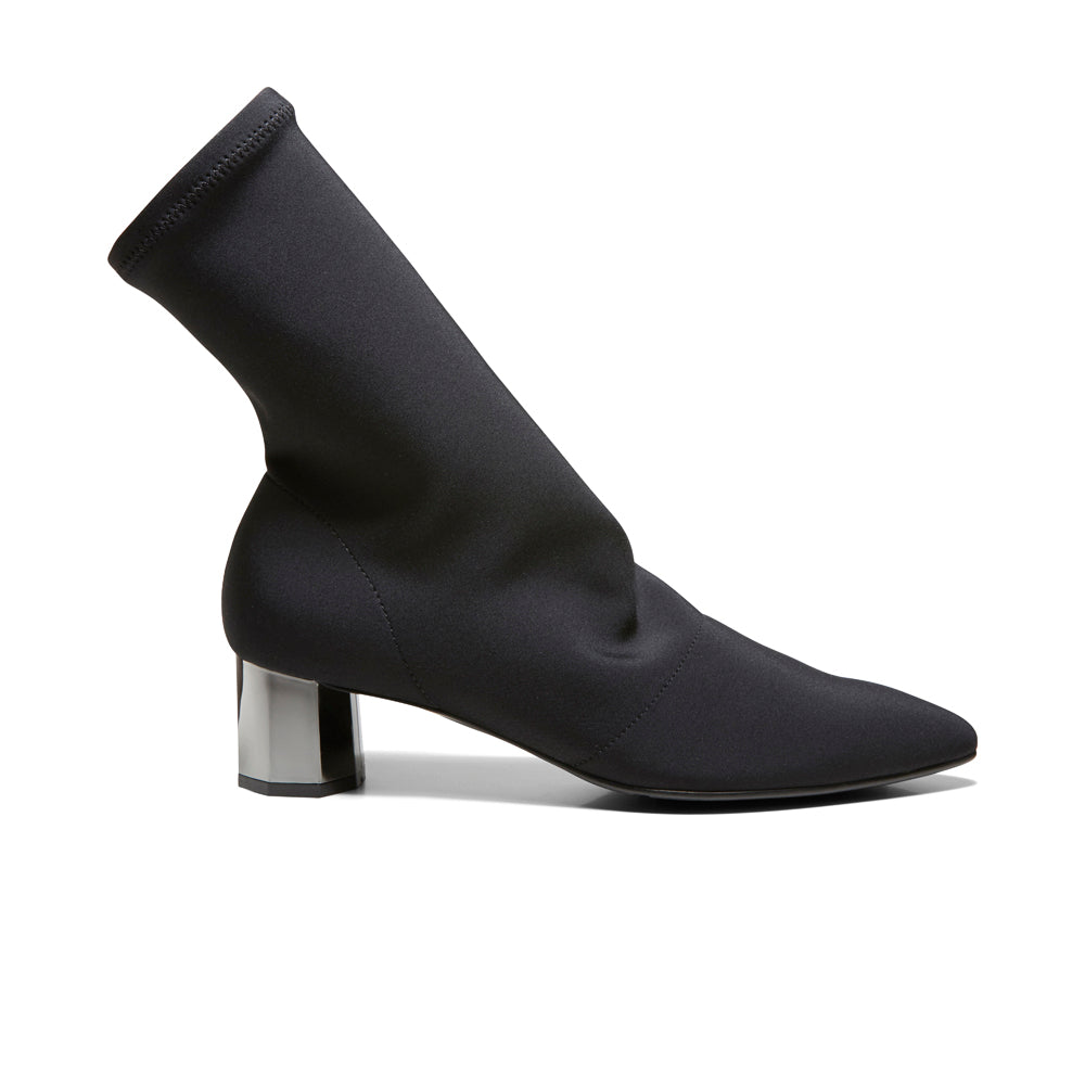 EOD's New Arrival Nikita Black Sock Boots on Chrome Block Heels Side - Women's Designer Shoes