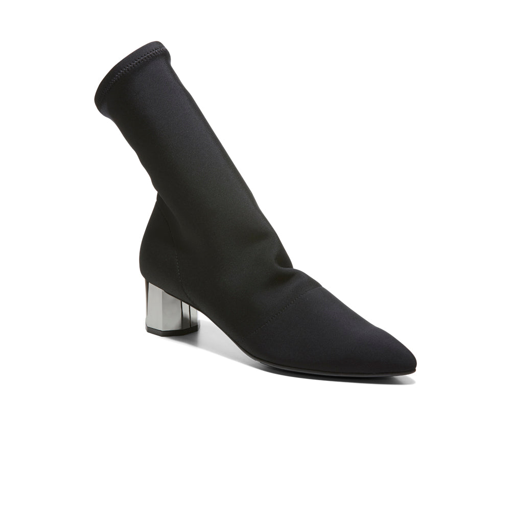 EOD's New Arrival Nikita Black Sock Boots on Chrome Block Heels Perspective - Women's Designer Shoes