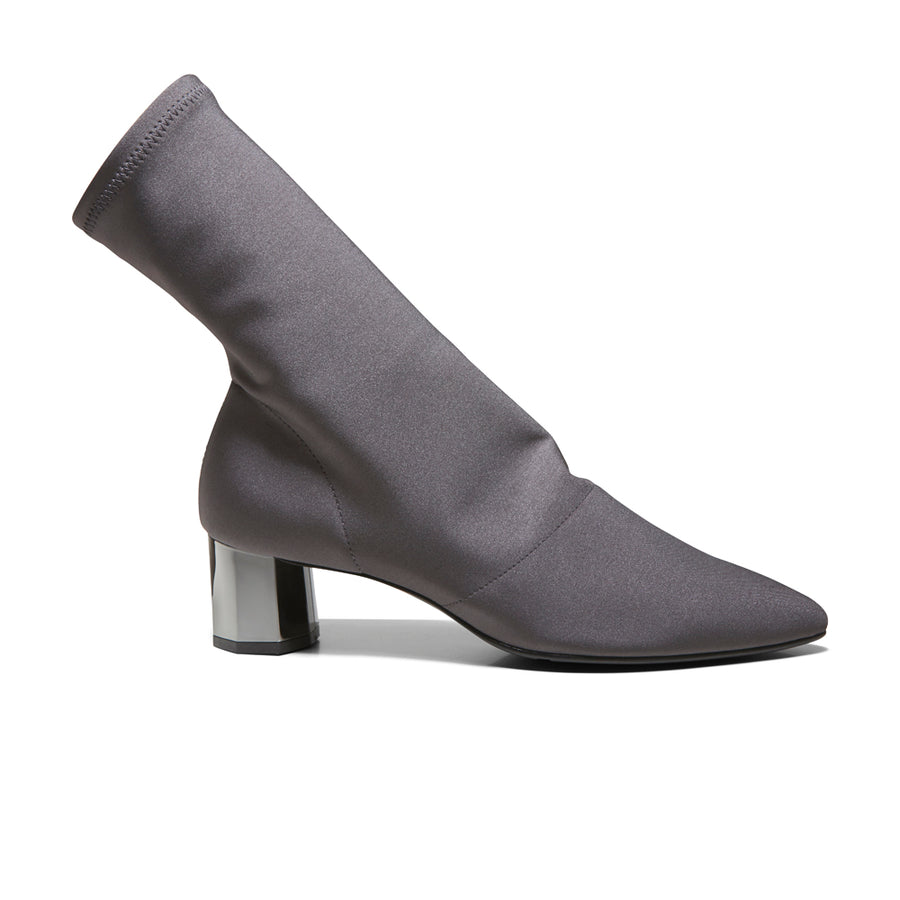 EOD's New Arrival Nikita Grey Sock Boots on Chrome Block Heels Side - Women's Designer Shoes