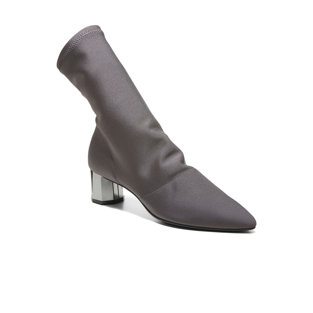 EOD's New Arrival Nikita Grey Sock Boots on Chrome Block Heels Perspective - Women's Designer Shoes