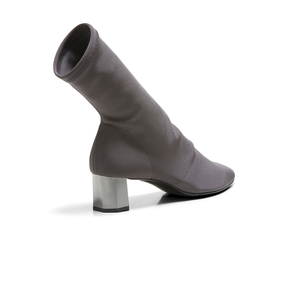EOD's New Arrival Nikita Grey Sock Boots on Chrome Block Heels worn by Model - Women's Designer Shoes