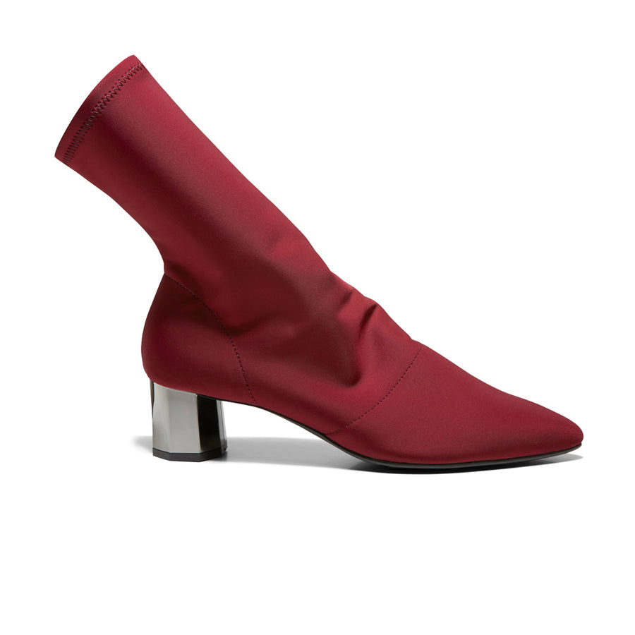 EOD's New Arrival Nikita Red Sock Boots on Chrome Block Heels Side - Women's Designer Shoes