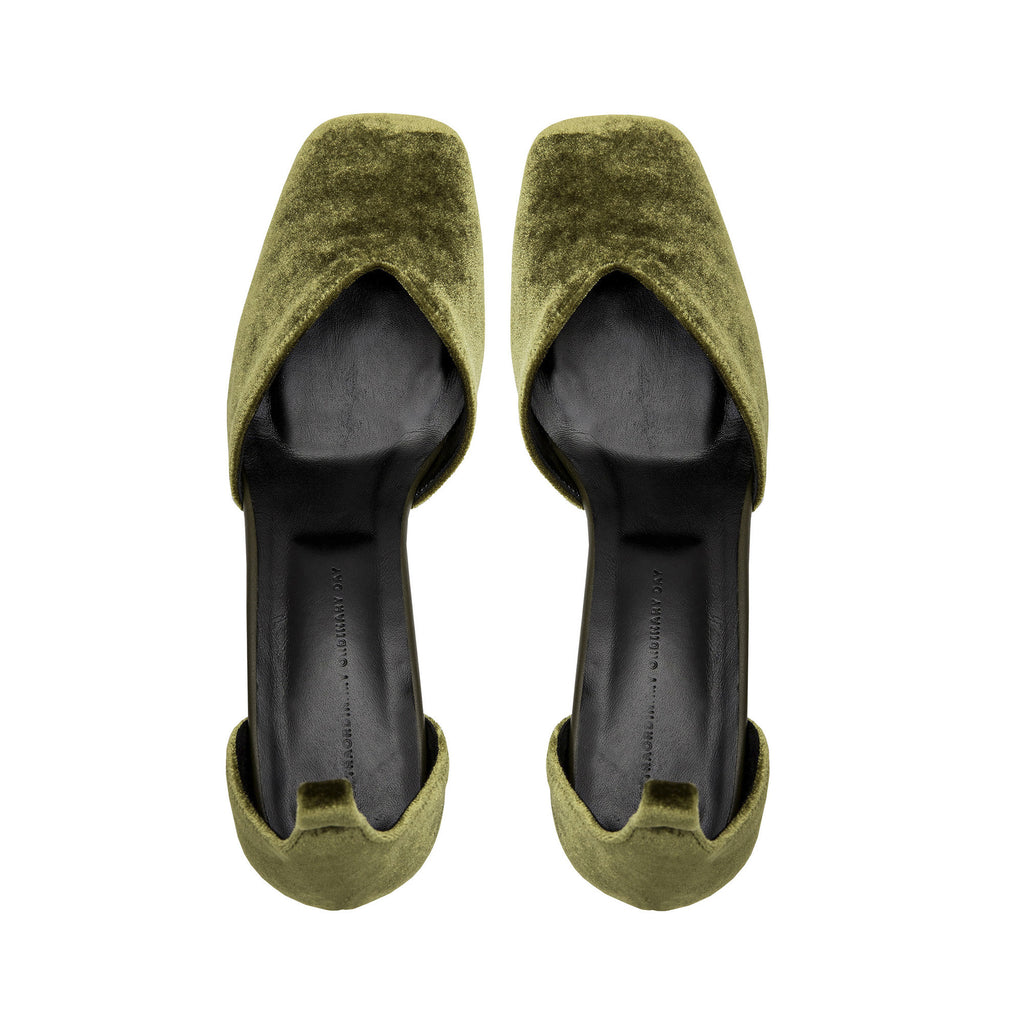 Women's Designer Mary Jane Shoes -Scarlett Olive Velvet Mary Jane Heels - Flatlay