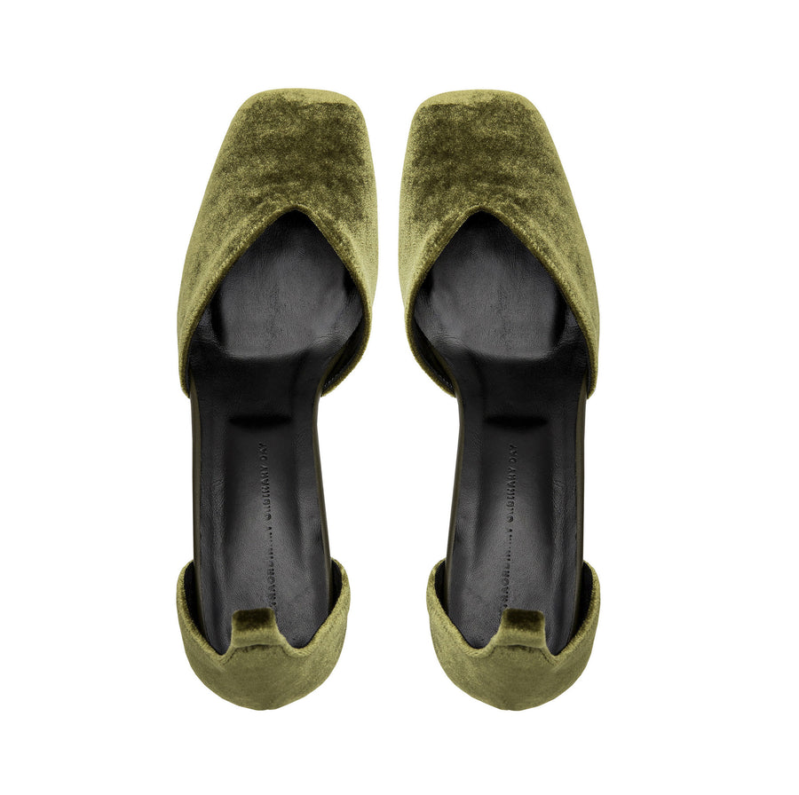 SCARLETT Mary Jane Pumps - Olive Green Velvet - Extraordinary Ordinary Day