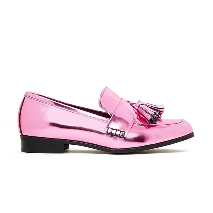 ECSTASY Classic Tassel Leather Loafers - Metallic Pink