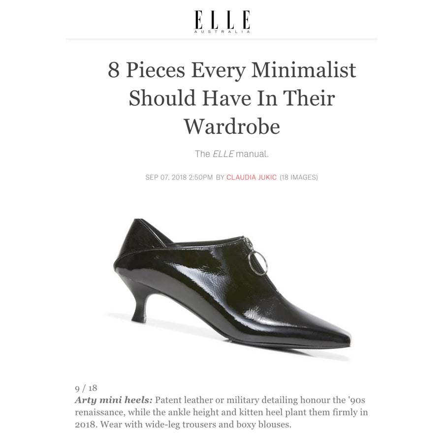 ELLE Australia selects Elle Kitten mini heels in black as one of 8 pieces every minimalist should have in their wardrobe.