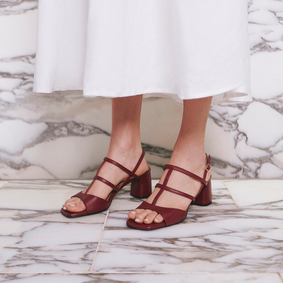 ALICE Slingback Leather Sandals - Burgundy - Extraordinary Ordinary Day