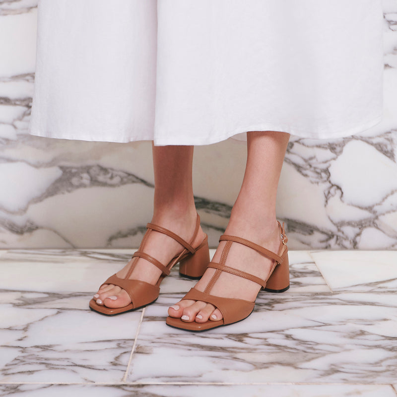 ALICE Slingback Leather Sandals - Tan