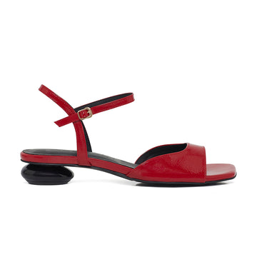 ANNA Ankle Strap Mid-Heel Sandals - Red Patent Leather - Side Profile - ASHLEY LIM women's designer shoes