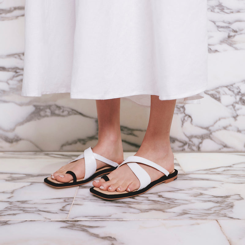 FEI FEI Leather Slides - White