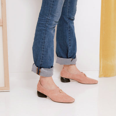 ASHLEY LIM designer shoes for women - Jacinda Blush Pink Suede Loafers styled with denims