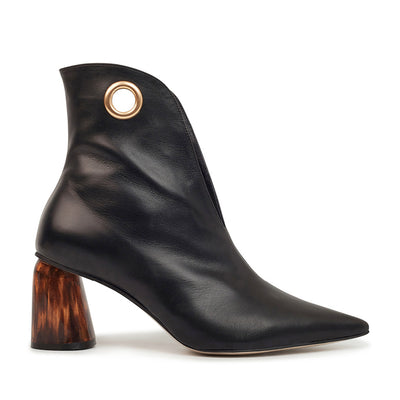 ASHLEY LIM designer boots for women - LAGARDE Black Leather Ankle Boots 1