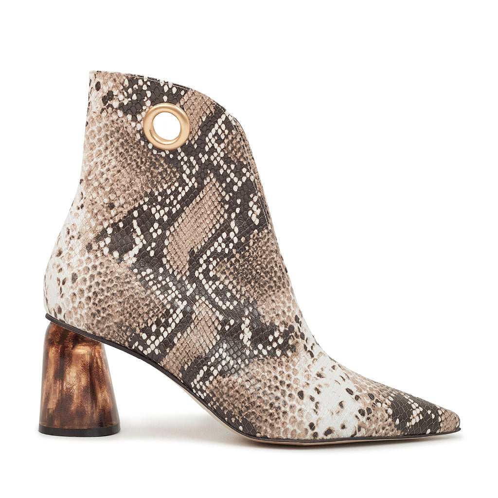 LAGARDE Leather Ankle Boots - Embossed Python
